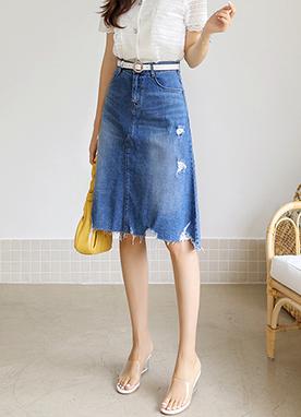 時尚日常A字型中長款牛仔裙, Styleonme