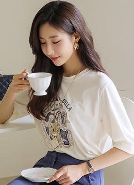 金色字母刺繡七分袖T恤, Styleonme