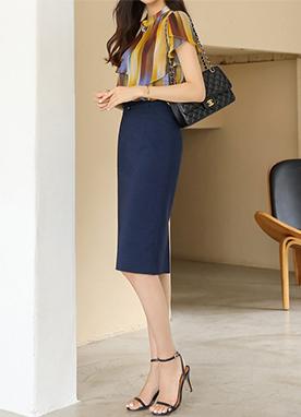 經典腰帶套裝H型半身裙, Styleonme