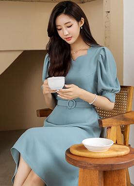 心形圖案領腰帶套裝連衣裙, Styleonme