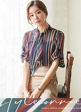 條紋圖案絲巾卷邊襯衫, Styleonme