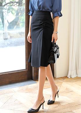 側褶皺美人魚版型半身裙, Styleonme