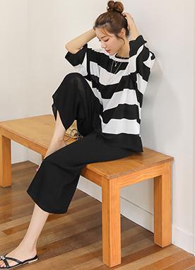 寬松條紋針織衫褲子套裝, Styleonme