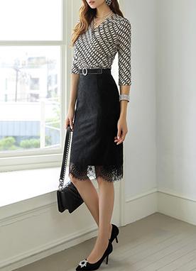 蕾絲分層H型顯瘦半身裙, Styleonme