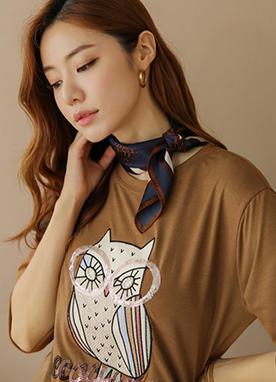 亮片刺繡混合貓頭鷹T恤, Styleonme