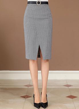 斜線開叉格紋半身裙, Styleonme