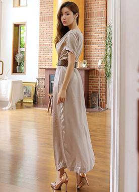 光澤感優雅線條長款連衣裙, Styleonme