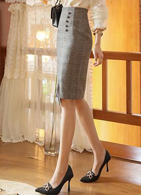 不對稱開叉紐扣格紋半身裙, Styleonme