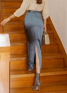 光澤感后分叉綢緞長裙, Styleonme