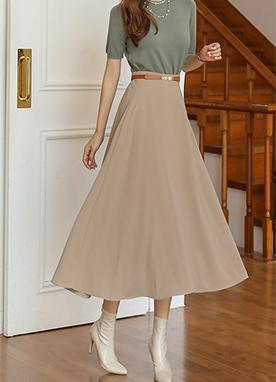 飄逸褶皺A字型高腰長裙, Styleonme