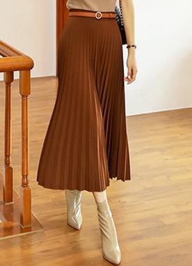 豎條紋A字型百褶長裙, Styleonme