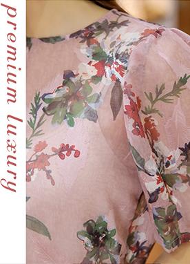 玫瑰印花泡泡袖透視雪紡衫, Styleonme