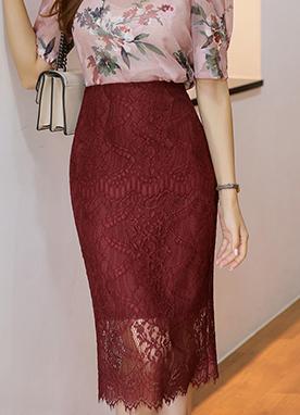 蕾絲透視H型高腰半身裙, Styleonme