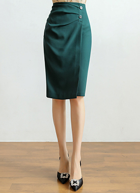 紐扣裝飾褶皺H型半身裙, Styleonme
