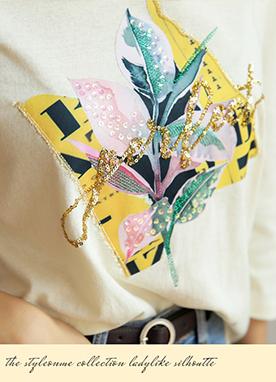 金色樹葉印花七分袖T恤, Styleonme