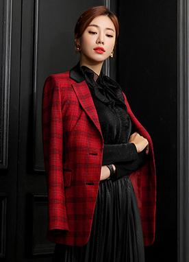 復古感性腰帶套裝格紋外套, Styleonme