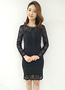 Zip-Back Lace Dress, Styleonme