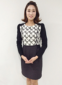 Puff Shoulder Patterned Sheath Dress, Styleonme