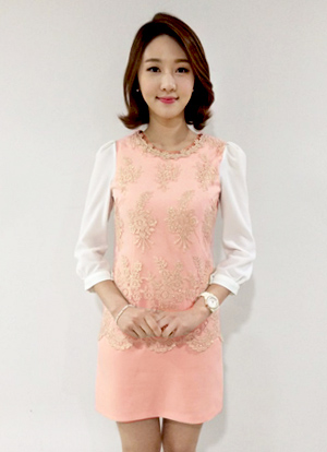 Gold Flower Lace Pink Dress, Styleonme
