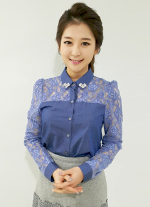 Blue Lace Yoke Blouse , Styleonme