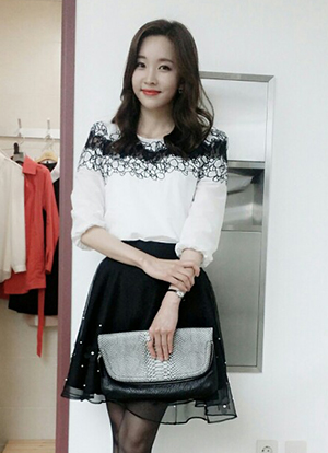 Black and White Lace Detailed Blouse, Styleonme