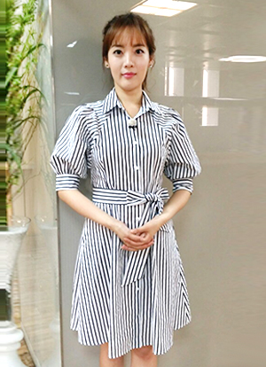 Lovely Ribbon Set Striped Dress, Styleonme