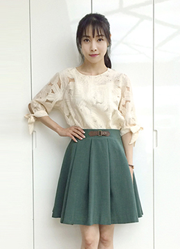 Belt Pointed Flare Skirt, Styleonme