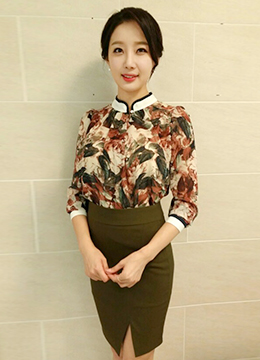 China-Collar Floral Blouse, Styleonme