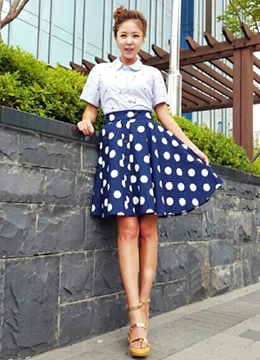Button Point Dotted Full Skirt, Styleonme