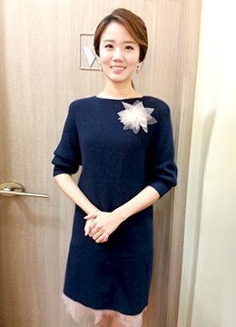 Brooch Set Meshed Knit Dress, Styleonme