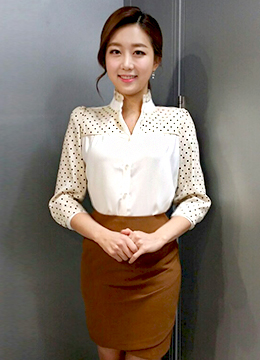 Dotted Corsage Feminine Blouse, Styleonme