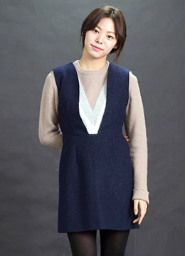 Stylish V-Neck Wool Dress, Styleonme