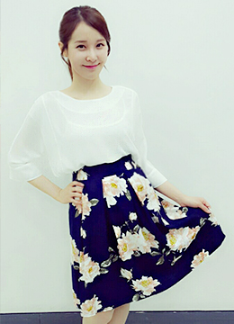 Floral Patterned Full Skirt, Styleonme