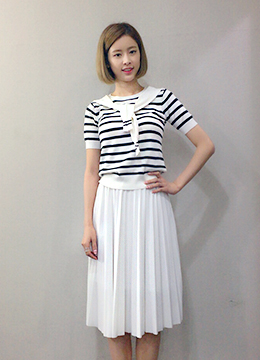 Stripe Sailor Tie Short Sleeve Knit, Styleonme