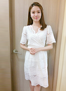 All Over Lace Short Sleeve Flared Dress, Styleonme