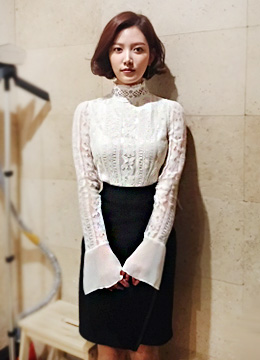 Chiffon Sleeve Laced Blouse, Styleonme