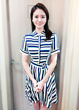 Stripe Ribbon Waist Tie Collared Short Sleeve Flared Dress , Styleonme