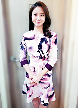 Watercolor Floral Print Long Sleeve Flounced Dress, Styleonme