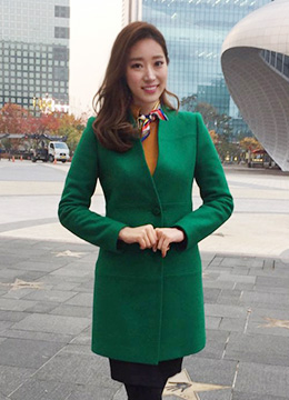 Single Button Collarless Long Jacket, Styleonme