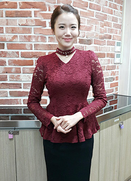 Floral Lace Pearl Choker Peplum Blouse, Styleonme