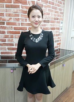 Long Sleeve Flared Dress, Styleonme