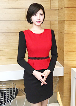 Two Color Peplum Fitted Dress, Styleonme