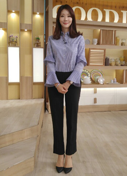 Pinstripe Double Bell Sleeve Collared Shirt, Styleonme