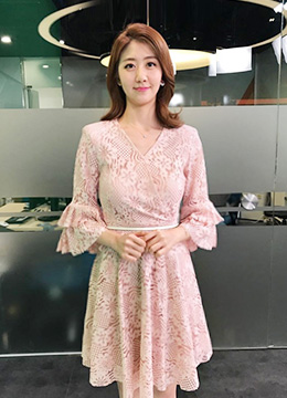 Floral Lace Ruffle Sleeve Wrap Style Flared Dress, Styleonme