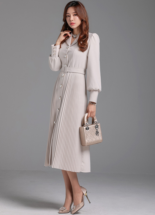 Pearl Button Collared Long Pleated Dress, 스타일온미