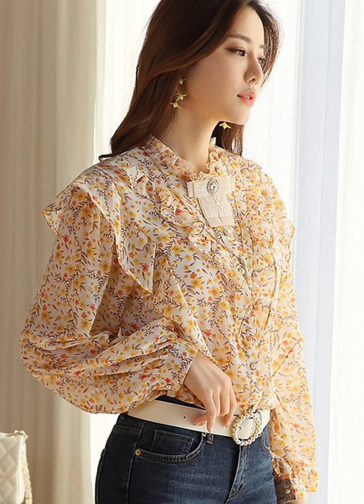 Floral Print Pearl Button Frill Blouse, 스타일온미