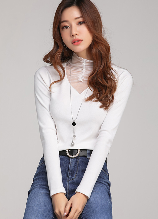 Shirred See-through Mock Neck Knit Tee, 스타일온미