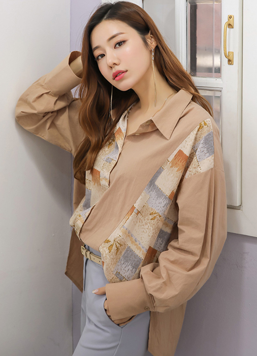 Art Pattern Crinkled Loose Fit Collared Blouse, 스타일온미