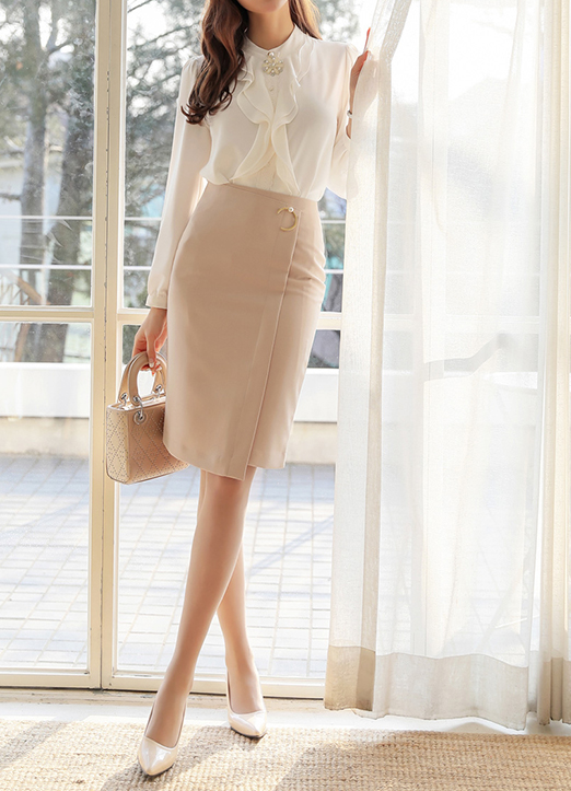 C-Pendant Asymmetrical Pencil Skirt, 스타일온미