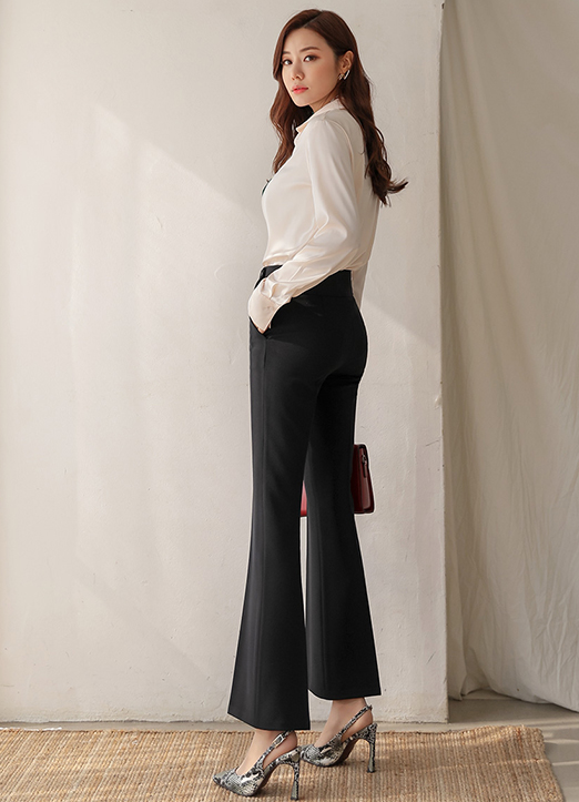 Modern High-Waisted Boot-Cut Slacks, 스타일온미